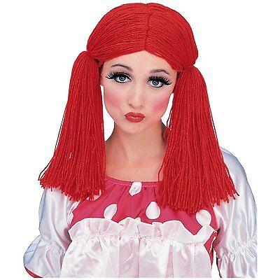 Womens Red Rag Doll Wig Long Yarn Hair Ragdoll Pigtails Adult Costume Raggedy