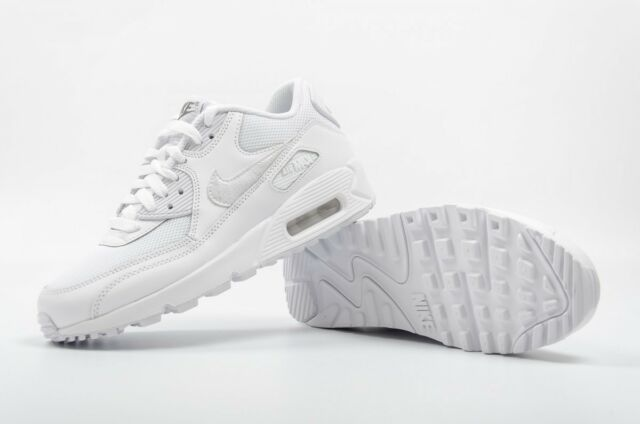 Nike Air Max 90 Mesh GS Junior Kids Girls Boys Trainers Shoes - White 3 to 1a42dca22da82