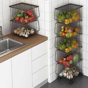 Whifea Metal Wire Fruit Vegetable Basket Rack Stand Kitchen Storage Unit Tier Ebay