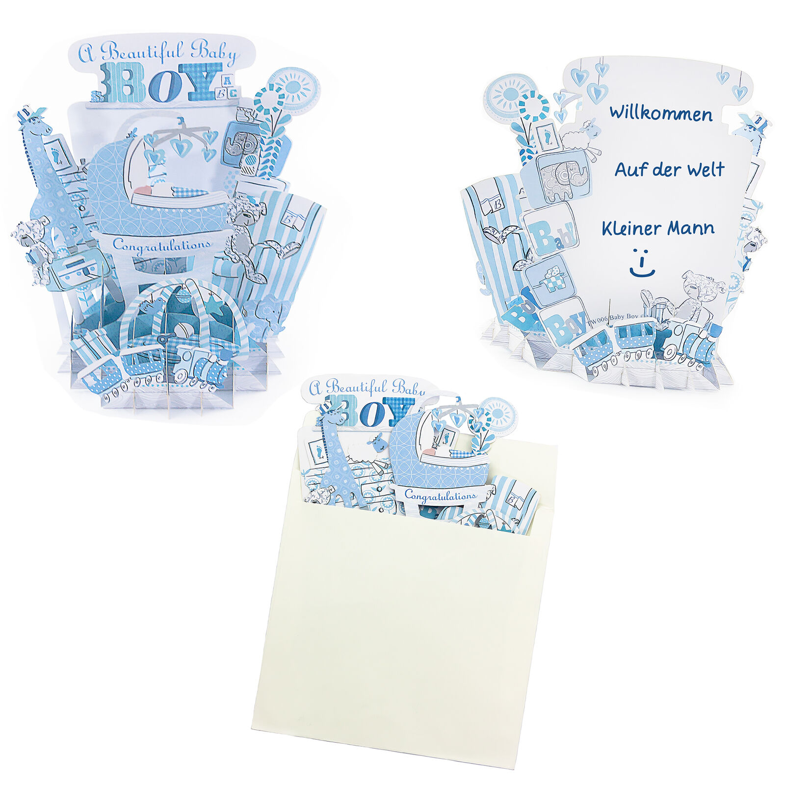 3D Baby Shower Karte Its a Boy Blau I Geburt I Schwangerschaft I Pop Up Karte