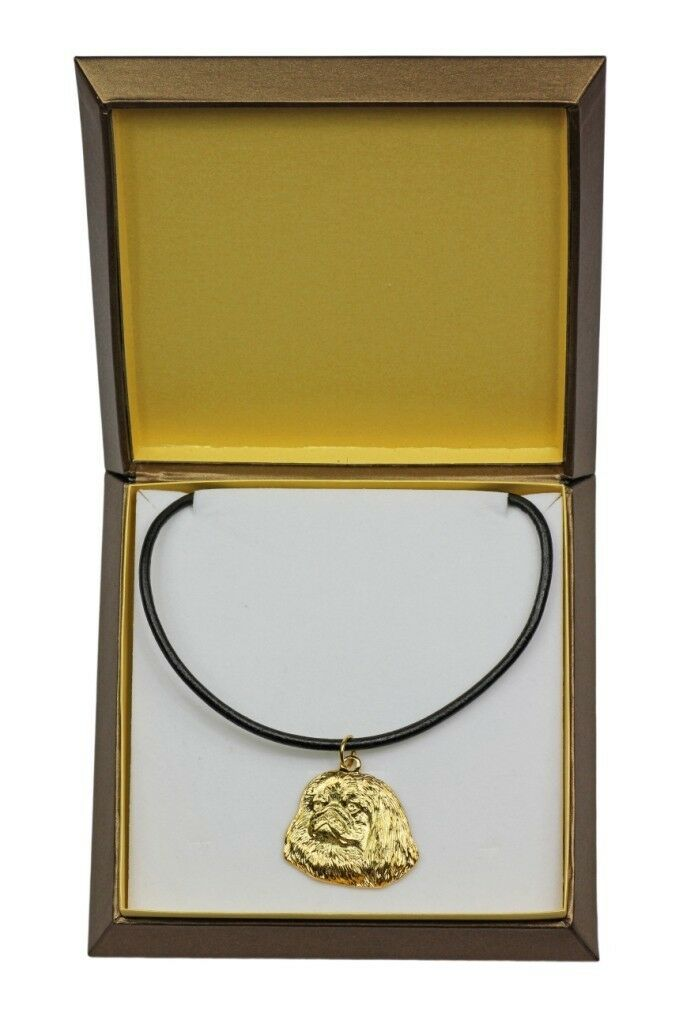 Pekingese - gold covered necklace with dog in box, high quality Art Dog