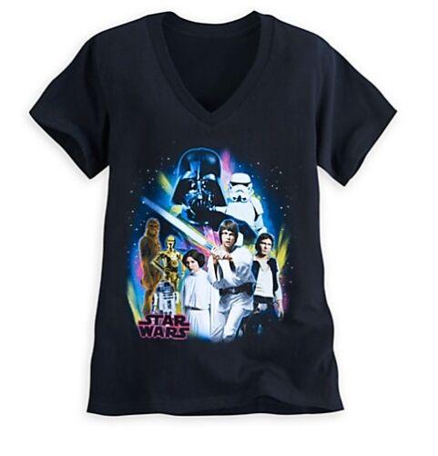 Disney Store Star Wars Classic Womens T Shirt Tee Size S Vader Luke Leia R2 Han