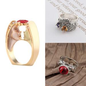 Antike-Frauen-925-Silber-Kupfer-Ring-Amethyst-Edelstein-Hochzeit-Schmuck