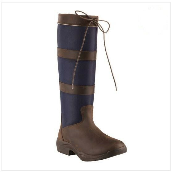 Horze Waterproof Country Navy Fabric Leather Trimmed Tall Water Resistant Boots