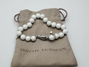 David Yurman Sterling Silver 8mm White Agate Spiritual Beads Bracelet