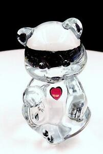 FENTON-ART-GLASS-CLEAR-BIRTHDAY-BEAR-FEBRUARY-AMETHYST-3-1-4-034-FIGURINE-1990-039-S