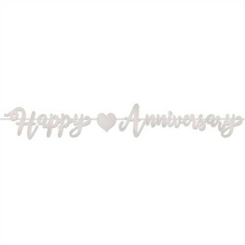 Foil Happy Silver Anniversary Streamer Anniversary Banner Decorations