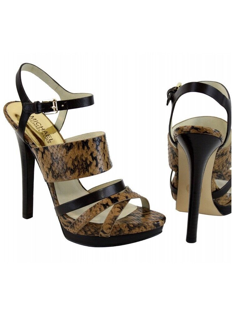 Michael Kors Embossed Nadja Platform Sandale Carmel Chocolate Braun Snake Embossed Kors 7 M New d0057f