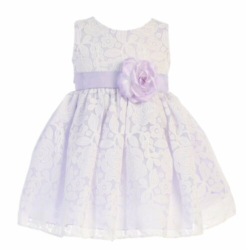 New Baby Toddler Kids Flower Girls Floral Lilac Dress Wedding Easter Party M726