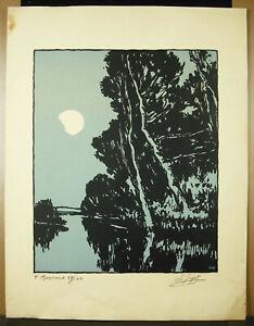 Stone-Reynaud-1881-1943-Landscape-Of-Roanne-Wood-Original-c1930-Signed
