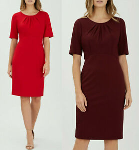 Precis-Petite-Plain-Red-amp-Burgundy-Ponte-Dress-Sizes-8-to-18
