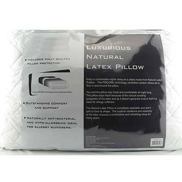 Luxurious Natural Latex Pillow + Quilted Protector NEW