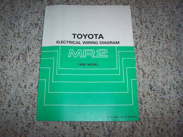 1986 Toyota Mr2 Electrical Wiring Diagram Manual Std 1 6l