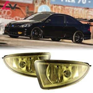 Details about For Honda Civic 04-05 Yellow Lens Pair Bumper Fog Light on