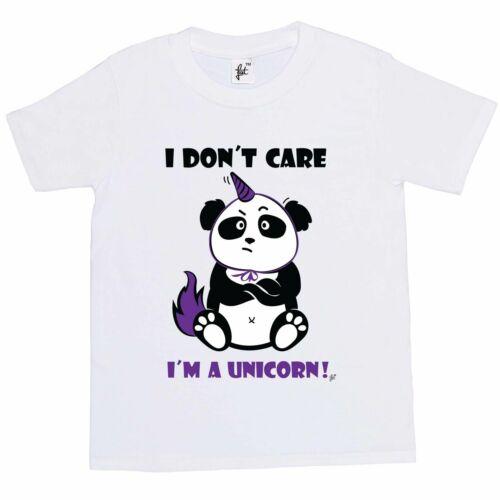 I Don/'t Care I/'m A Unicorn Panda Wearing Horn Sulking Kids Girls T-Shirt