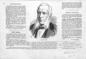 """Portrait de Juan Maria Gutierrez Poète Juriste d'Argentine 1878 ILLUSTRATION - France - Commentaires du vendeur : """"OCCASION"""" - France"""