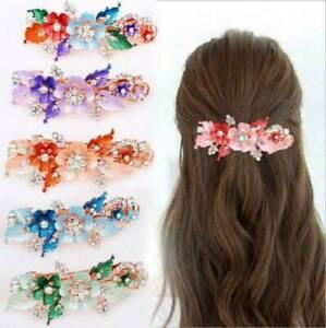 NEW-Women-Headwear-Flower-Barrettes-Cute-Hairpin-Crystal-Hair-Accessories