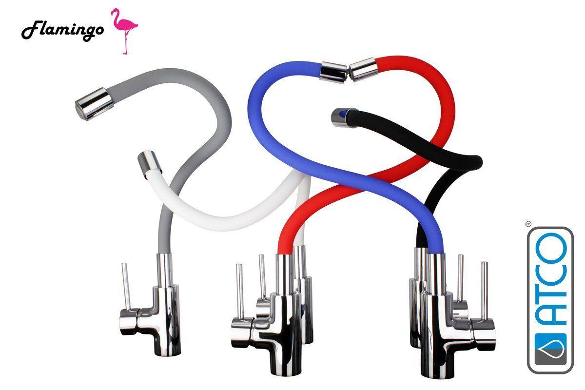Flamingo flexibel Mischbatterie Wasserhahn Küchenarmatur Spültisch Armatur rot