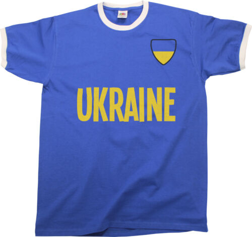 Mens UKRAINE COUNTRY NAME Ringer T-Shirt Football,Sports,Euro 2016 etc