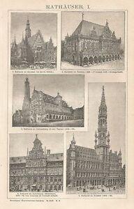 B0406 Municipi In Europa - Vedute - Xilografia D'epoca - 1903 Vintage Engraving