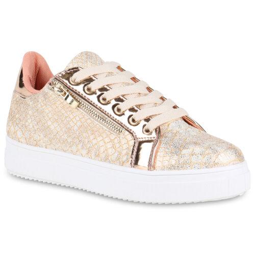 Damen Plateau Sneaker Lack Sportschuhe Strass Freizeit Schuhe 820540 Trendy Neu