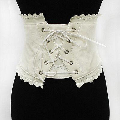Women Fashion WIDE CORSET FLOWERS LACE TIE HIGH WAIST Elastic stretch BELT S~XL