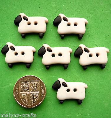 WHITE SHEEP Craft Buttons 1ST CLASS POST Farm Animal Nature Novelty Lamb Fun