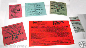 6-THE-BEATLES-Tickets-Rock-n-Roll-Concert-60s-Retro-Music-Liverpool-Antique-Old