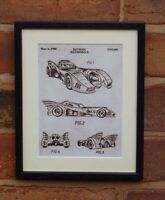 USA Patent Drawing BATMAN Batmobile film car vintage  MOUNTED PRINT 1990 Xmas