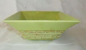 Mid Century Vintage Ceramic Pottery Planter Bowl Lime Green Gold California