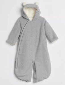 44b1816d0 Baby Gap Bundler Fleece Bear Gray Sherpa Bunting Snowsuit Girl Boy 3 ...