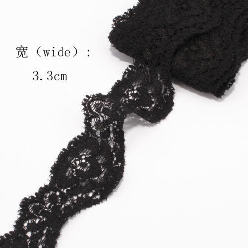 9.5Y 3.3cm Tulle Ornaments Elastic Lace Trim Stretch Ribbon Headband DIY Wedding