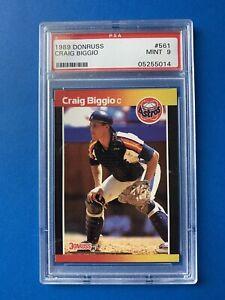 Craig-Biggio-Rookie-1989-Donruss-BASEBALL-CARD-561-Graded-PSA-9-Houston-Astros