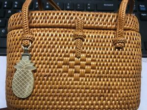 Helen Kaminski raffia rattan bucket basket bag double handle resort