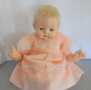 22-034-Madame-Alexander-Kitten-doll-crier-new-stuffing-peach-dress-crochet-shoes