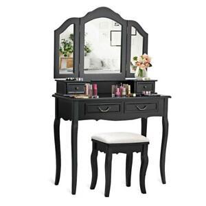 Wood-Black-Vanity-Makeup-Dressing-Table-Set-with-Stool-4-Drawer-amp-Folding-Mirror