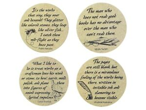 absorbent stoneware ceramic drink quotes coasters literature home