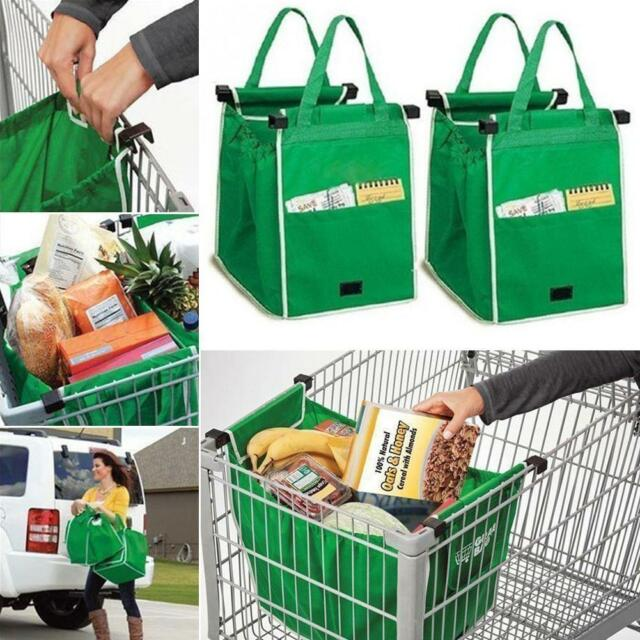 Reusable Shopping Bags Eco Foldable Trolley Tote Grocery Cart Storage Grab Bag @