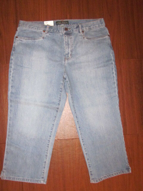 RALPH LAUREN Women Classic Midcalf Pants Denim Perry Wash 12 VINTAGE NEW w  TAG