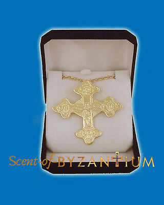 Orthodox Pectoral Engraved Cross Small 5x6cm Made in Greece in Velvet Gift Box