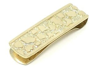 680d36d3847a2 Details about Men's 10k Yellow Gold Solid Nugget Money Clip Wallet Holder  1.9