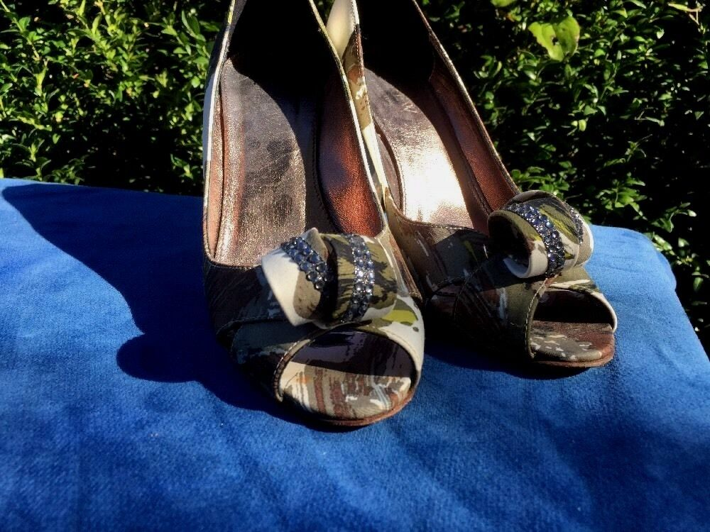 J. CREW Peep Toe RHINESTONE RHINESTONE RHINESTONE RIBBON Picaso High Heels damen Stilettos schuhe Sz 7 6087fe
