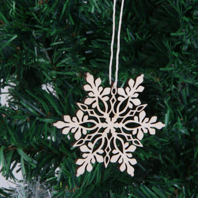 10x natural wood laser cut gift tag christmas tree ornaments swirl snowflake set - Wooden Laser Cut Christmas Decorations