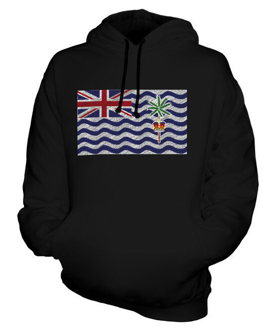 BRITISH INDIAN OCEAN TERRIRORY SCRIBBLE FLAG UNISEX HOODIE GIFT FOOTBALL