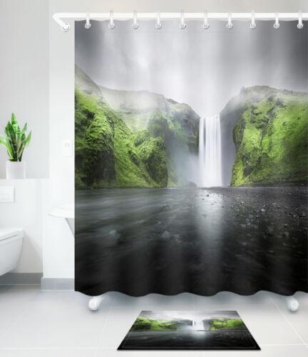 "Falling Waterfall Mountain Bathroom Waterproof Fabric Shower Curtain Hook 60//72/"""