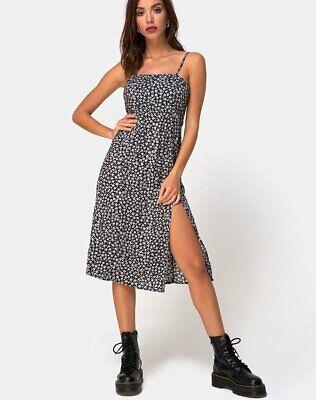 MOTEL ROCKS  Elara Dress in Ditsy Rose Black XS mr101