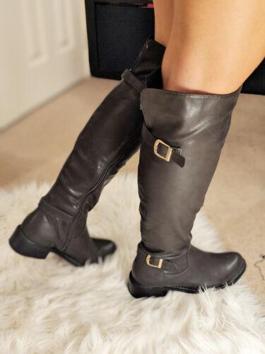 Chaussures Femme Bottes cavalières hautes à talon plat boucle hiver gris kaki femme taille NEUF