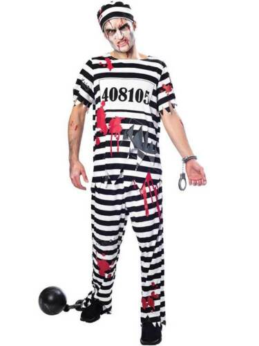 Zombie a Righe Da Uomo prigioniero condannato evaso Criminale Costume Di Halloween Morti