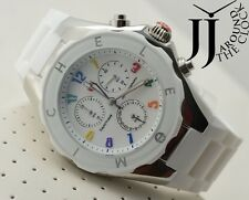 NEW MICHELE TAHITIAN BEAN JELLY BEAN LARGE SWISS WHITE SILVER WATCH MWW12F000013
