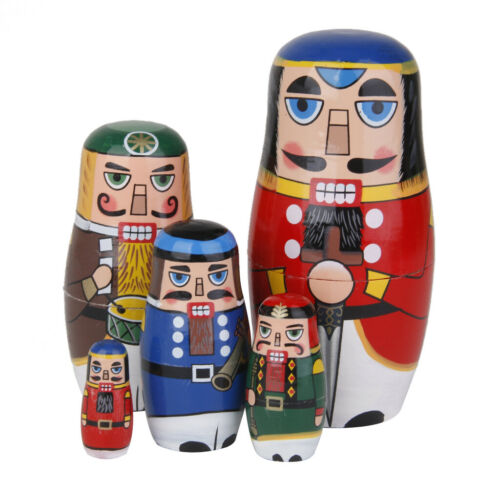 5 Pieces Chromatic Wooden Russian Nesting Dolls Babushka Matryoshka Dolls